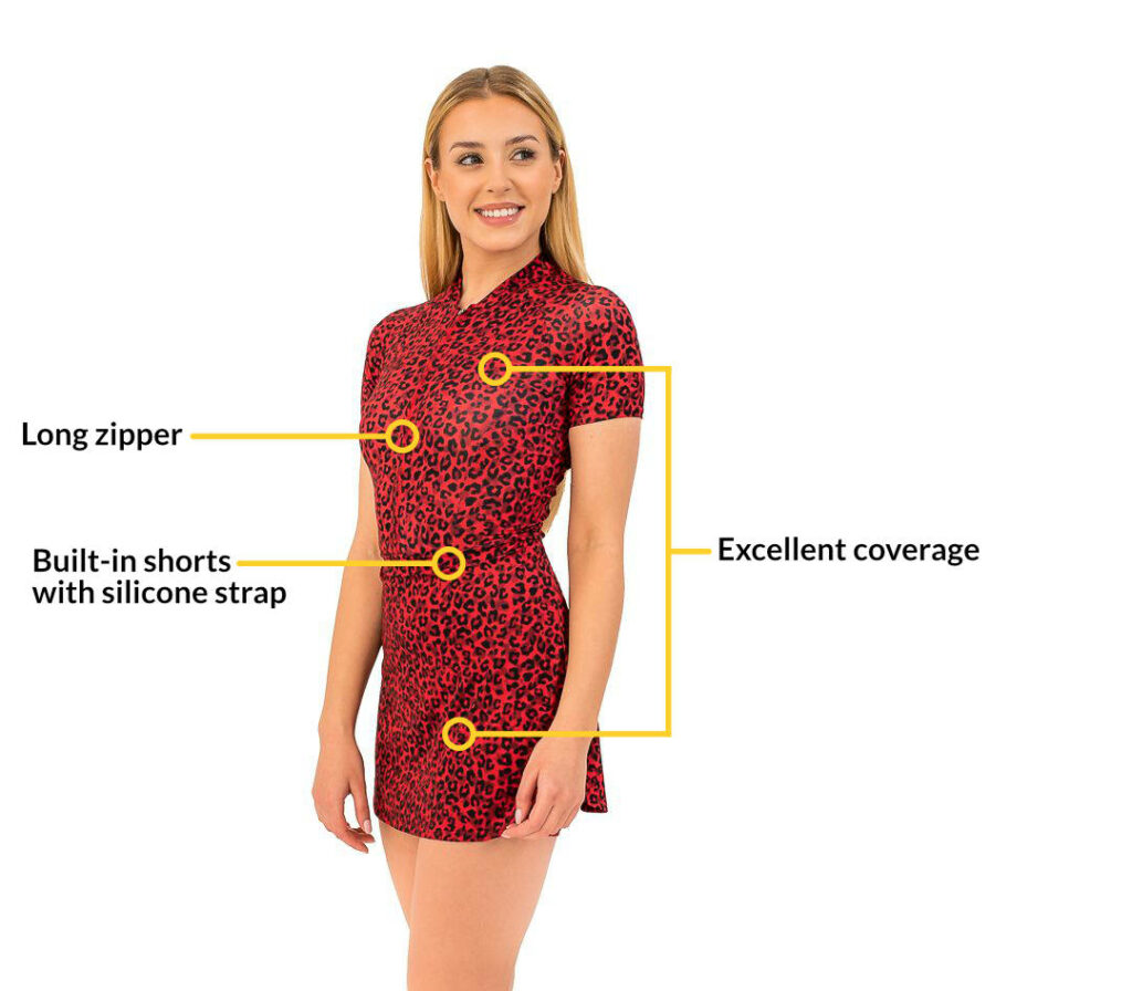 Technical sports dress with a description of functionality.