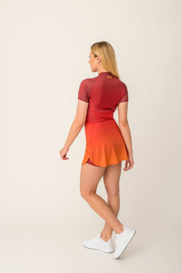 High-performance multi-sport dress - ombre , built-in shorts, phone pocket with a zipper, quick-drying material