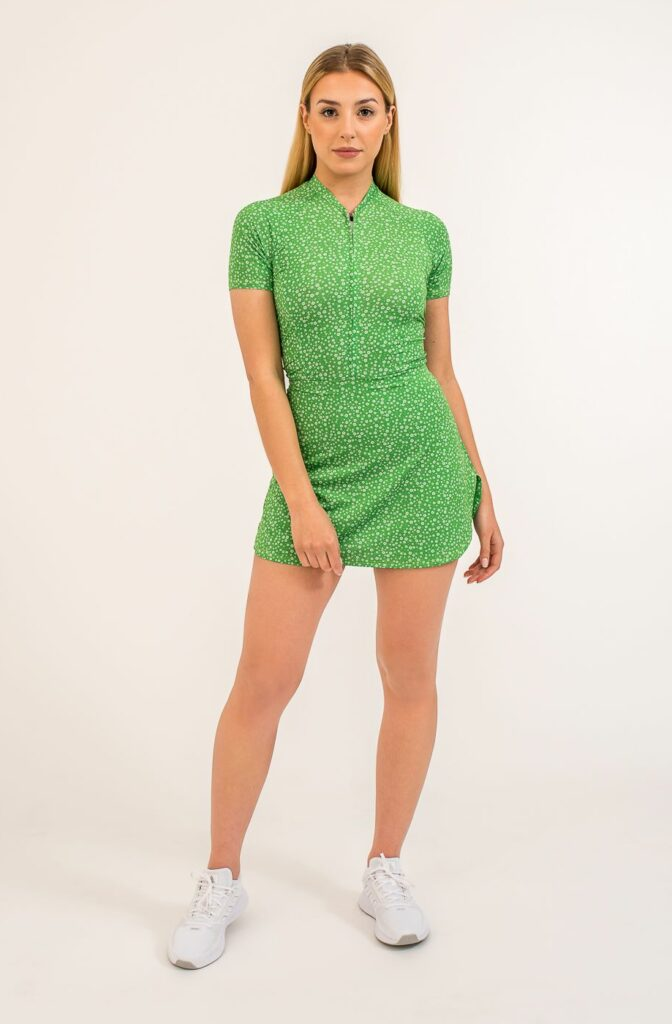 Sport performance dress - green with white small flowers, perfectly fitted, light, breathable material.