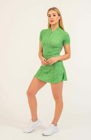 Sporty dress - green with white flowers, built-in shorts. Long front zipper.